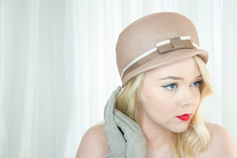 Vintage 1950s champagne hat taupe beige brown mauve woven image 0
