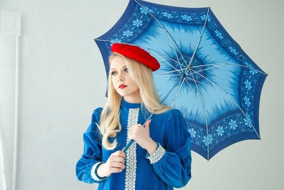 Vintage blue floral umbrella, hooked handle, navy