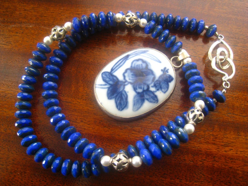 Lapis /& Sterling Necklace with Pendant BlueWhite Shard Floral Porcelain Oval  1 7.8 x 1 316 Necklace is 18 Long