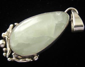 BISBEE BOB Signed Sterling & Pale Green Moonstone Cabochon Pendant.  Brutalist Metal Work Cradles 36 mm Teardrop Stone.  Sturdy Tapered Bail