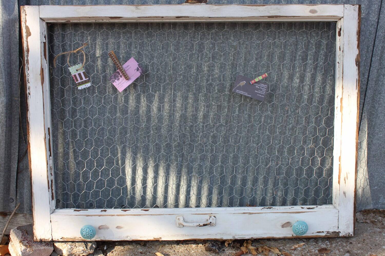 Old Window Farmhouse Window Chicken Wire Memo Board White
