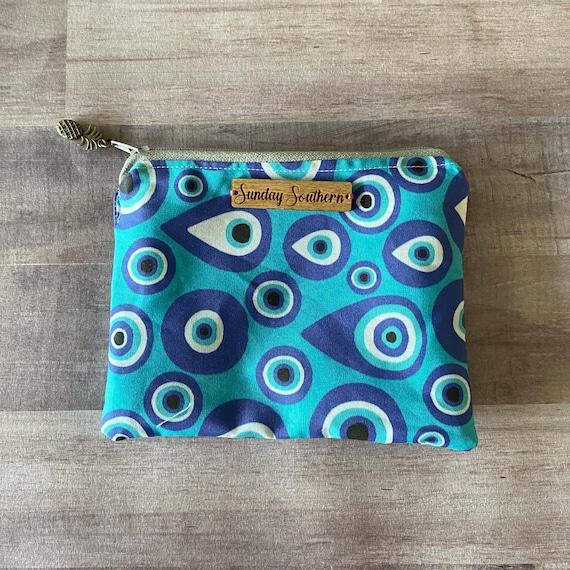 Mati Evil Eye Zipper Pouch Bag - Greek Gift - Free Personalization