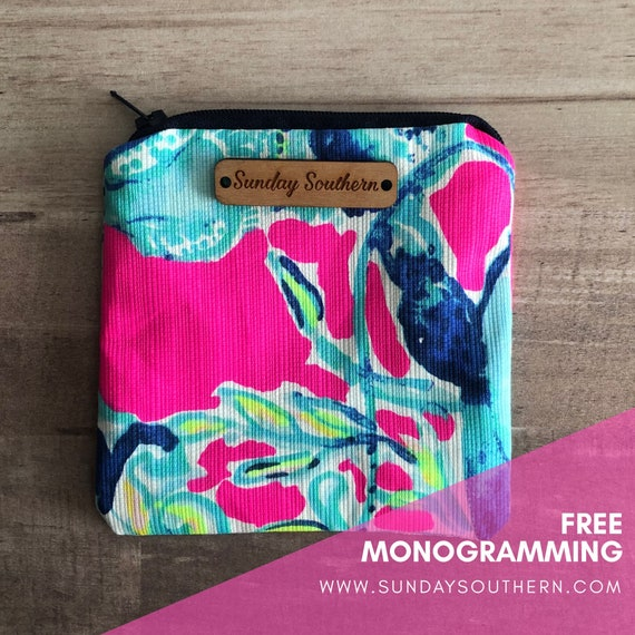 Tropical Print Mini Zipper Pouch
