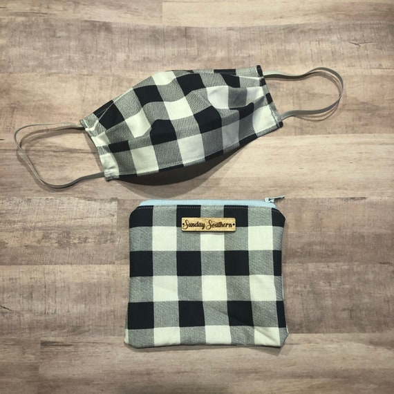 Set - Face Mask and Mask Zipper Pouch - Navy Blue Check