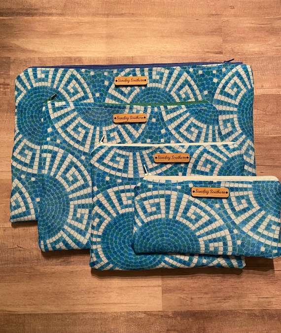 Aegean Mosaic Zipper Pouch Bag - Greek Gift - Free Personalization - 4 sizes available