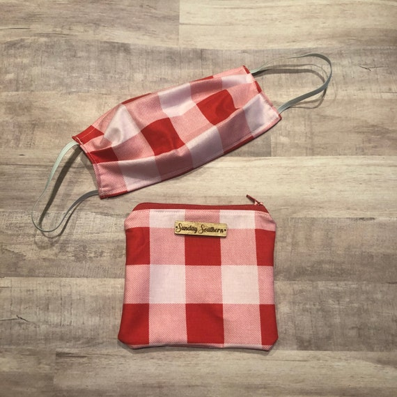 Set - Face Mask and Mask Zipper Pouch - Red Check