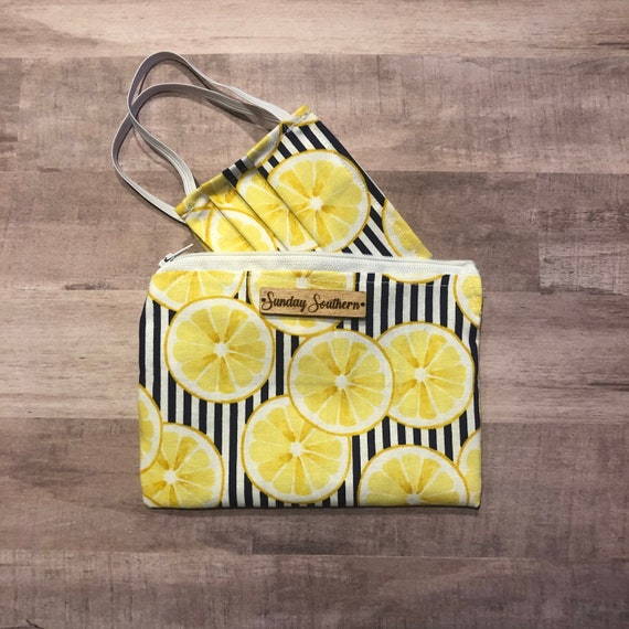 Set - Face Mask and Mask Zipper Pouch - Limoncello