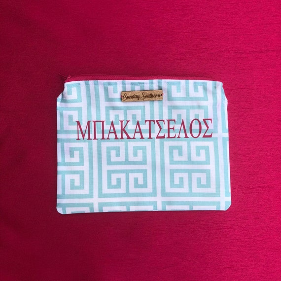 Greek Key Small Zipper Pouch