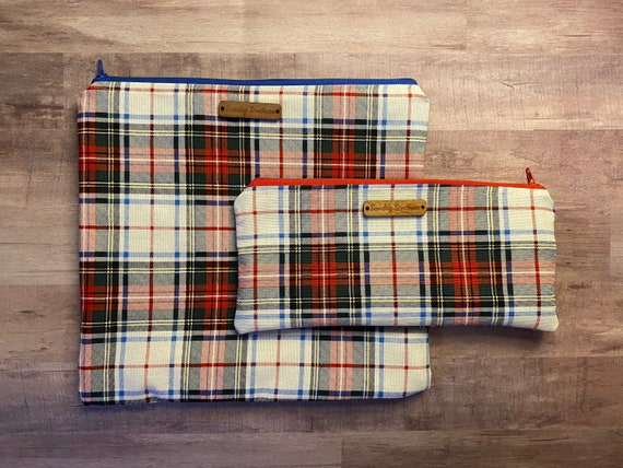Tartan Plaid Zipper Bag and Face Mask - Sets or Singles