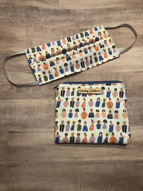 Set - Face Mask and Mask Zipper Pouch - Faces & Friends