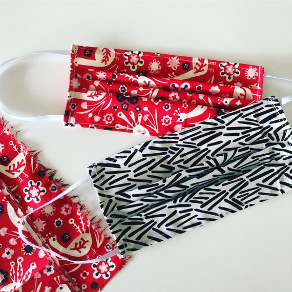 Face Mask 100% Organic Cotton Adjustable Fabric Covering - 12 prints available
