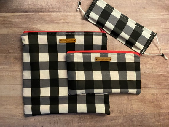 White Buffalo Plaid - Face Mask or Mask Zipper Pouch