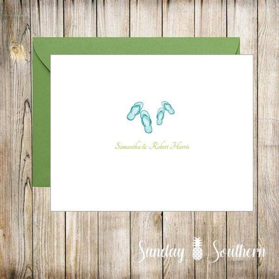 Flip Flips Pair Monogrammed Personalized Note Card Set