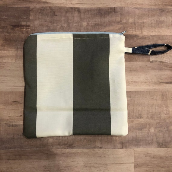 Gray Cabana Stripe Wet Bag