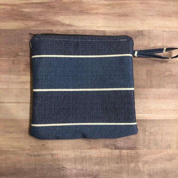Denim Blue Stripe Wet Bag