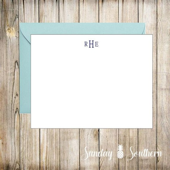 Men's Personalized Note Cards - Set of 16 with Envelopes