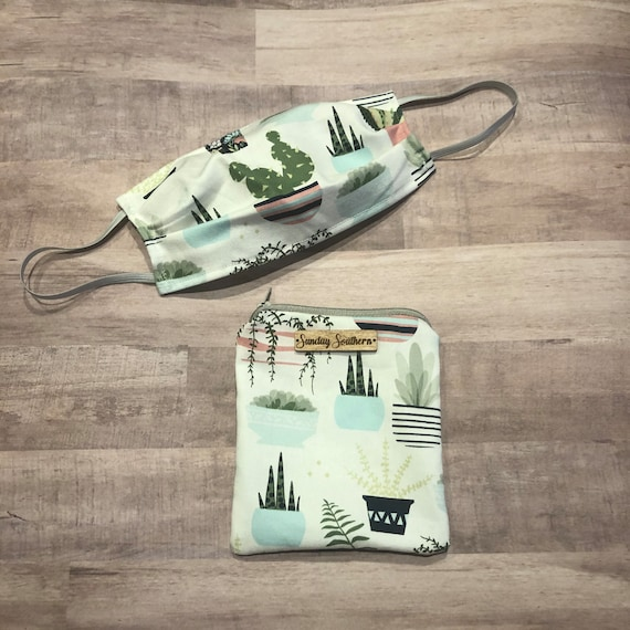 Set - Face Mask and Mask Zipper Pouch - Succulents