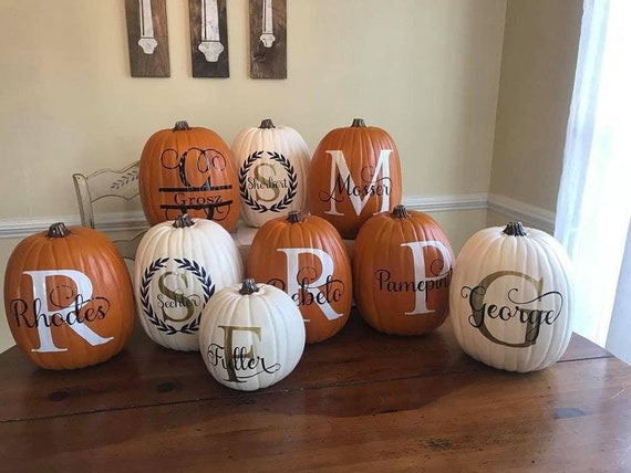 Custom Monogram Name Pumpkins - 3 sizes available