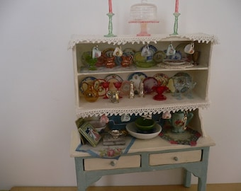 One Inch Scale Dollhouse Miniature Shabby Chic Loaded Hutch