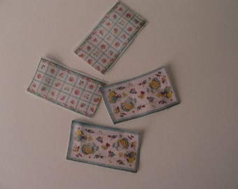 One Inch Scale Dollhouse Miniature Shabby Chic Set of Small Vintage Dish Towels