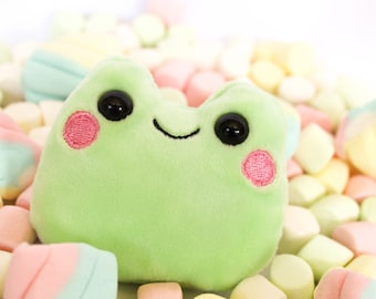 PRE-ORDER Happy kawaii plush frog, froggy pocket plushie with adorable face