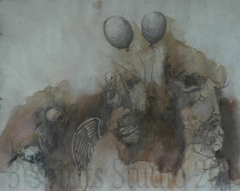 The Beggars' March- Original art brut and surrealist Drawing by artist Richard Cutshall
