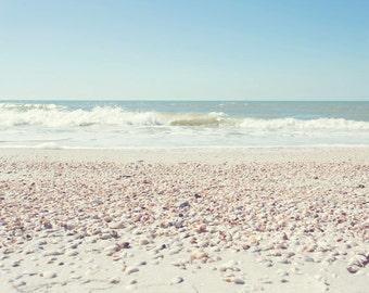 Florida Beach Photography - Fine Art Photograph - Beach Decor - Beach Photo - Shells - Landscape Photography - White Tan Blue Home Decor