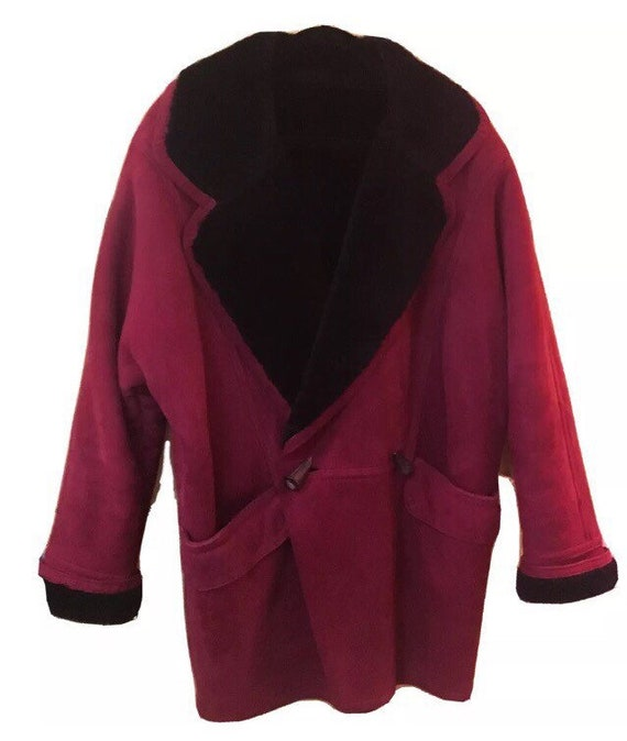 Vintage Raspberry Shearling Winter Coat S/XS