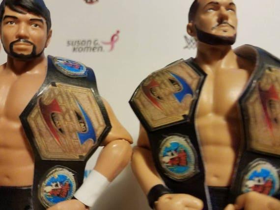 Custom Made WWF World Tag Team Title Belts For WWE Mattel Jakks Elite Figures