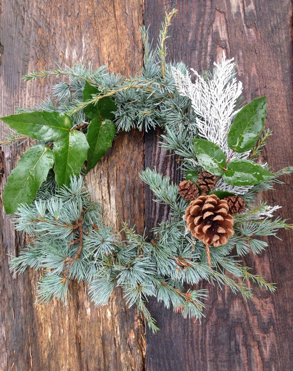 small fresh evergreen table wreath simple christmas etsy