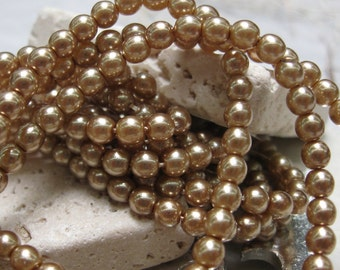 Vintage 4mm Czech Glass Pearls in Champagne.  3 dz.