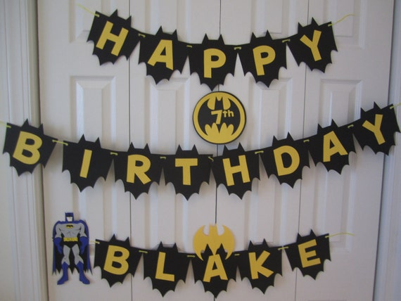 BDK16 Name and Any Age Personalised Batman Birthday Banner