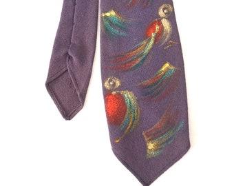 Hand Painted Silk Necktie / Purple and Birds