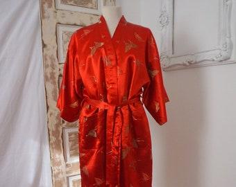 Gorgeous Red Silk Bath Robe   Vintage Asian Butterflies 0635e5285