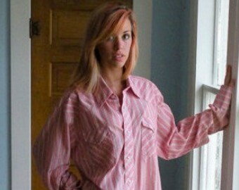 Vintage Western Long Sleeve Shirt Pink Stripe Extra Long Large XL