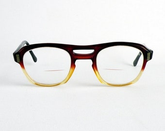 Vintage Cranberry Red to Clear Fade Eyeglass Frames Square Plastic