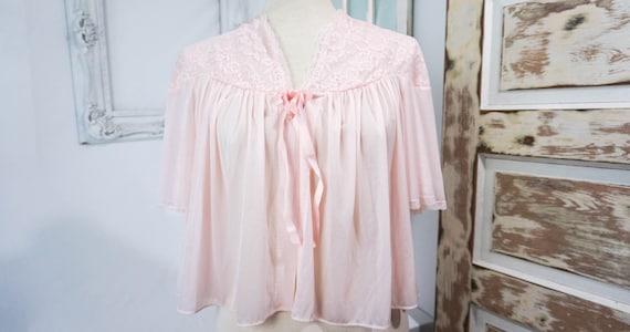 Vintage Nylon Bedjacket Pink Medium 1950 Vintage Lingerie