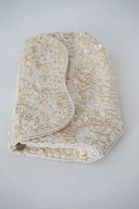 Creamy White Beaded Clutch Vintage Purse // Womens