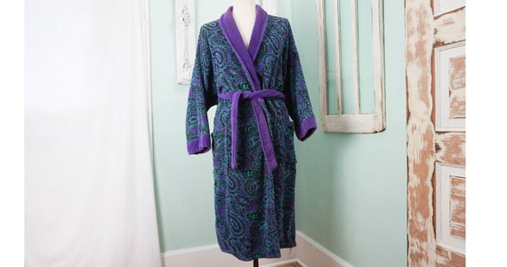 Thick Purple and Teal Terrycloth Bath Robe / Vinta