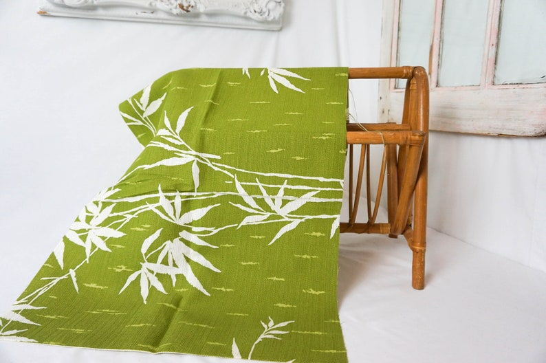 Six Pieces of Vintage Barkcloth / Avocado Green and White image 0
