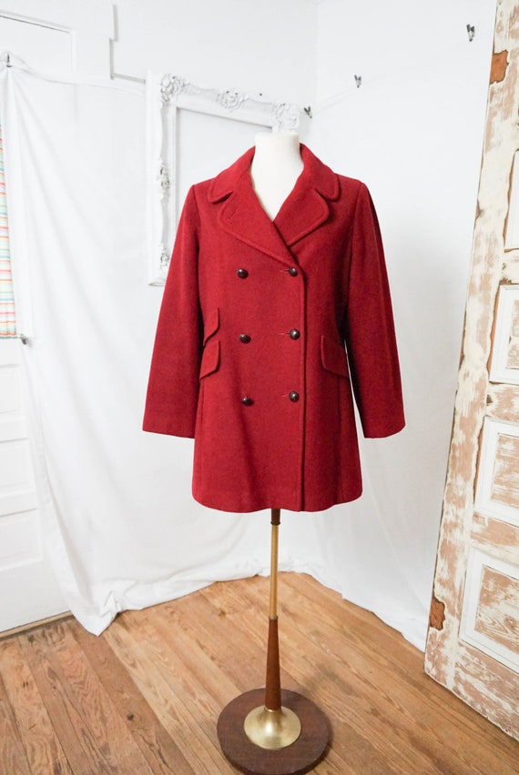 Red MacKintosh Wool Coat / Vintage Women Overcoat