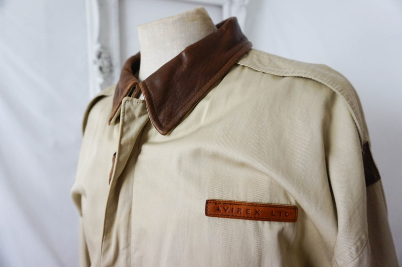 AVIREX Cotton Bomber Jacket with Leather Collar  Vintage WWII Men Sz XL