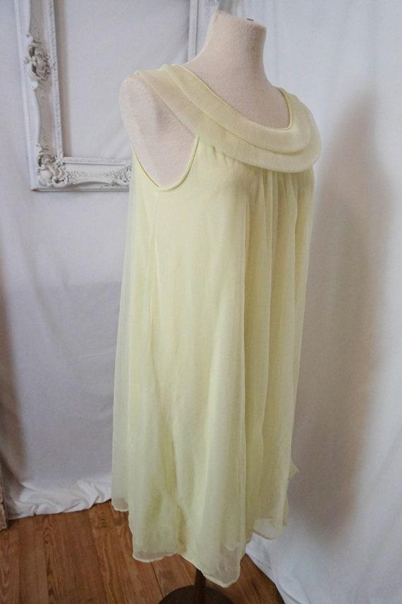 Sheer Yellow Vintage Nightgown  Women Sz S - image 4