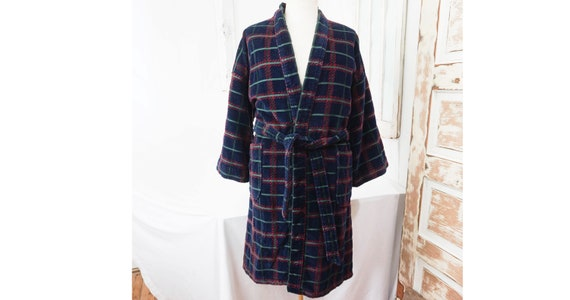 Blue Plaid Thick Terrycloth Robe / Vintage Mens Dr