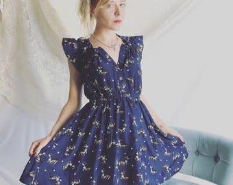 Vintage Deer Print Dress Handmade Semi Sheer XS Babydoll Navy Blue 1970s Vtg