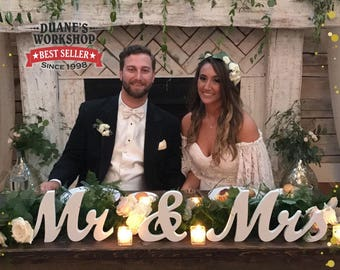 """8"""" Wooden Mr and Mrs sign, Gold and Silver Glitter, Wedding Decor, Wedding, Mr & Mrs"""