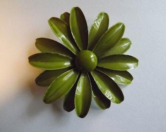 Groovy, Flower Power, Enamel, Olive Green Pin / Brooch