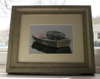 5X7 Lobster Trap in A Boat Photograph matted in an 8X10 frame