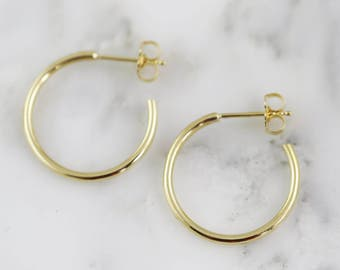 "3/4"" Solid Gold Hand Forged Hoop Earrings - Gold Hoops - Solid 14k 18k 22k 24k"