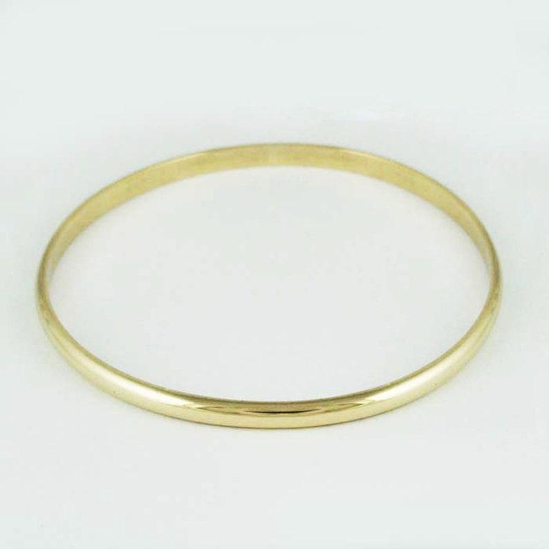 c582cd80b04ed 4mm Half Round Solid Gold Bangle - 4 x 2 mm - Simple Gold Bracelet -  Engraveable Personalized Gold Bangle - 10k 14k 18k 22k